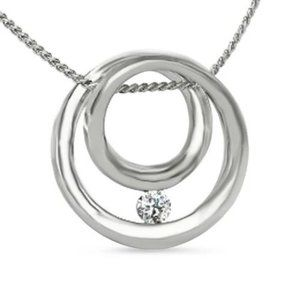Jewelry - Solitaire Round Cut Diamond Pendant Necklace 0.75